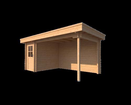 DWF Blokhut met overkapping plat dak 150 x 250 + 350cm
