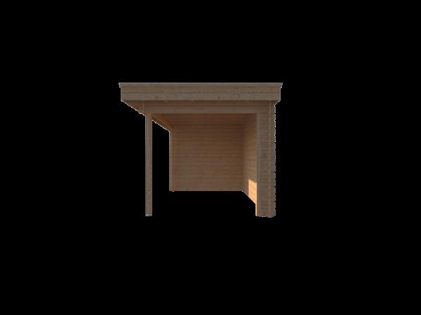 DWF Blokhut met overkapping plat dak 150 x 250 + 400cm