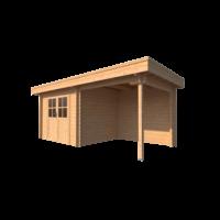 DWF Blokhut met overkapping plat dak 300 x 250 + 250cm