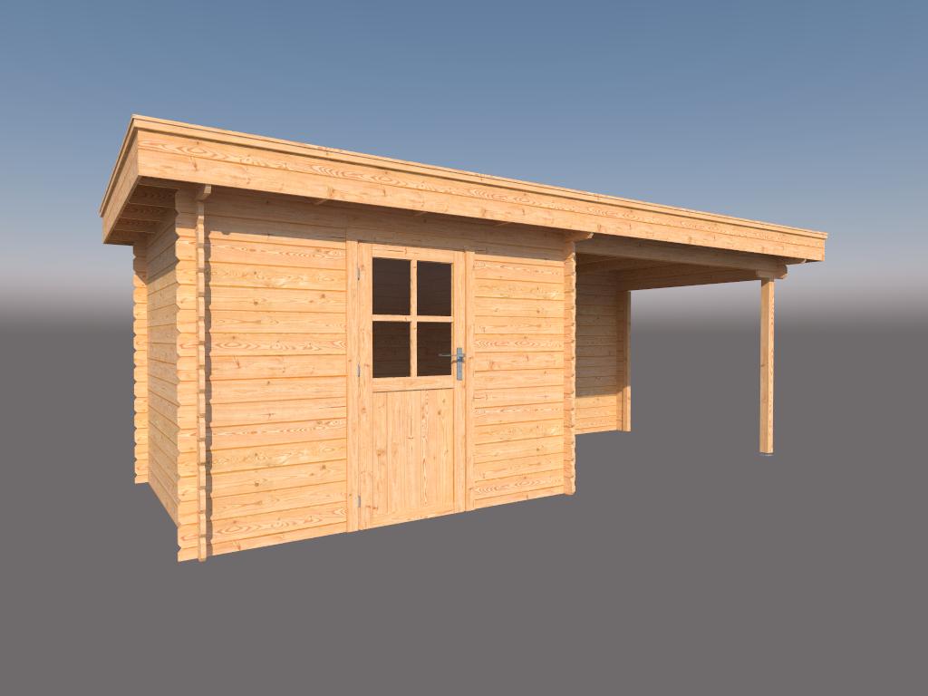 DWF Blokhut met overkapping plat dak 300 x 250 + 300cm