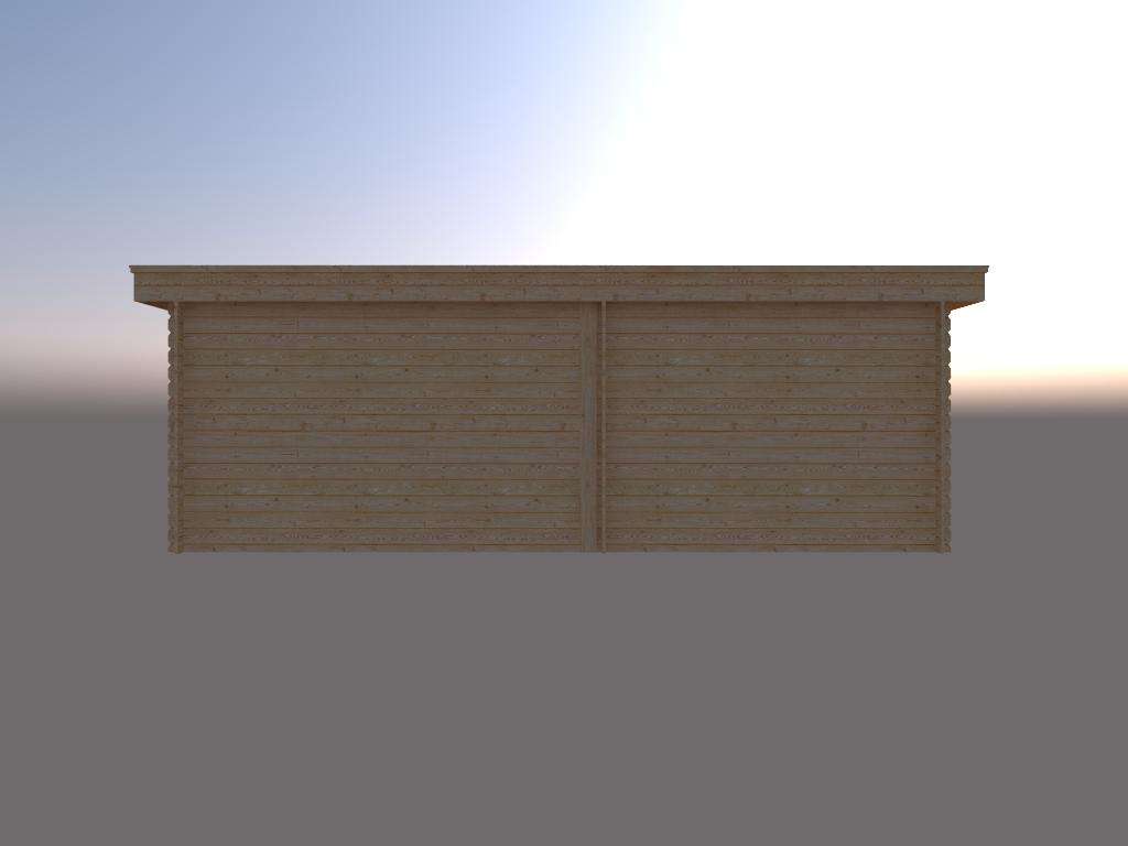 DWF Blokhut met overkapping plat dak 300 x 250 + 350cm