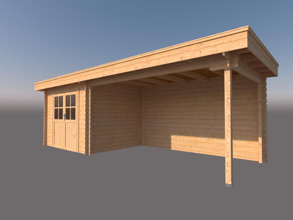 DWF Blokhut met overkapping plat dak 300 x 250 + 400cm