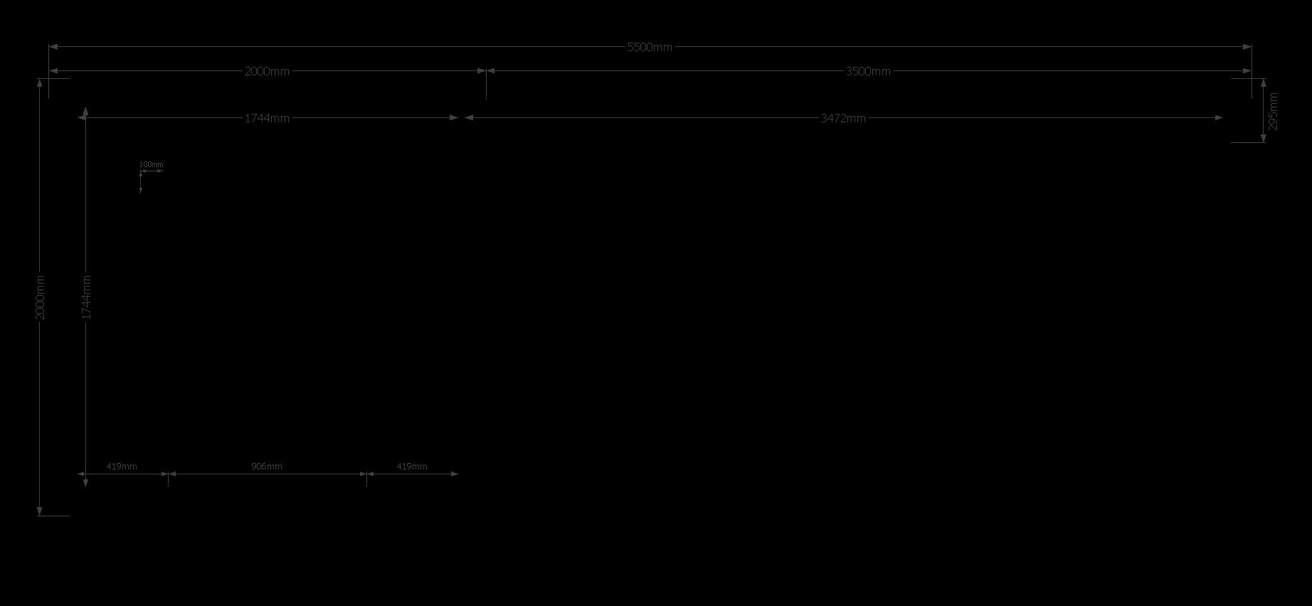 DWF Blokhut met overkapping plat dak 200 x 200 + 350cm