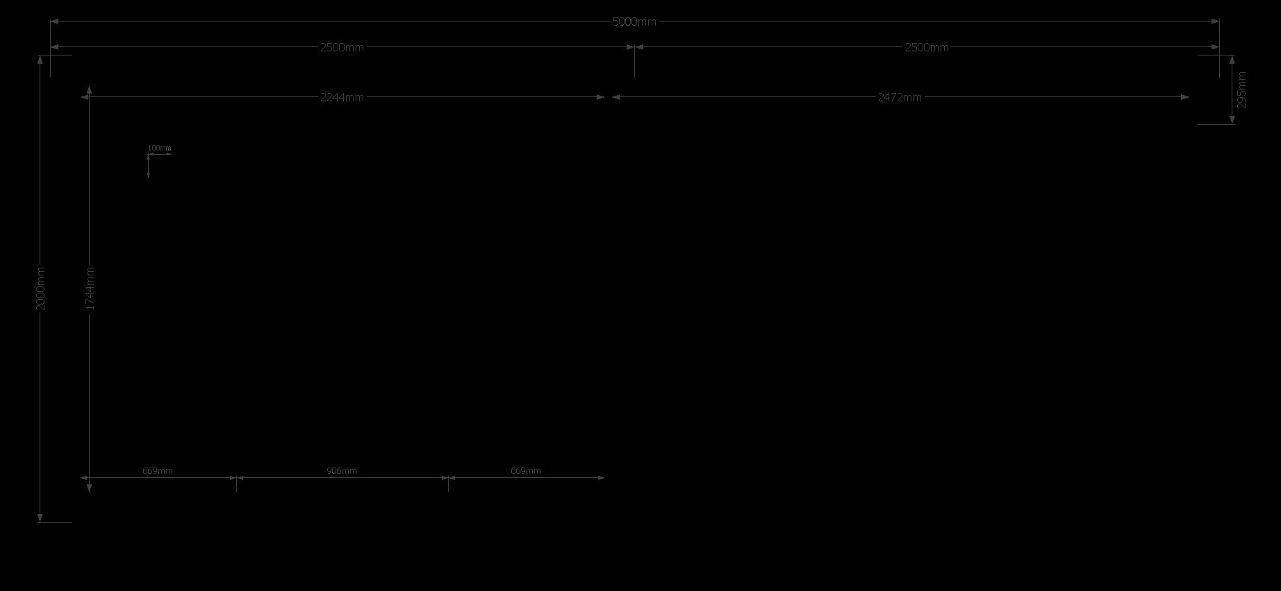 DWF Blokhut met overkapping plat dak 250 x 200 + 250cm