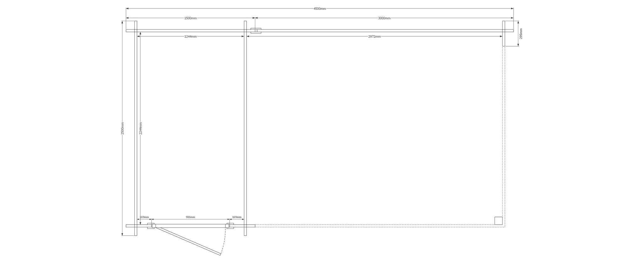 DWF Blokhut met overkapping plat dak 150 x 250 + 300cm