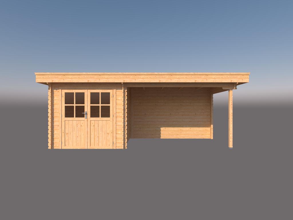 DWF Blokhut met overkapping plat dak 250 x 250 + 350cm