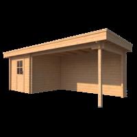 DWF Blokhut met overkapping plat dak 250 x 250 + 400cm