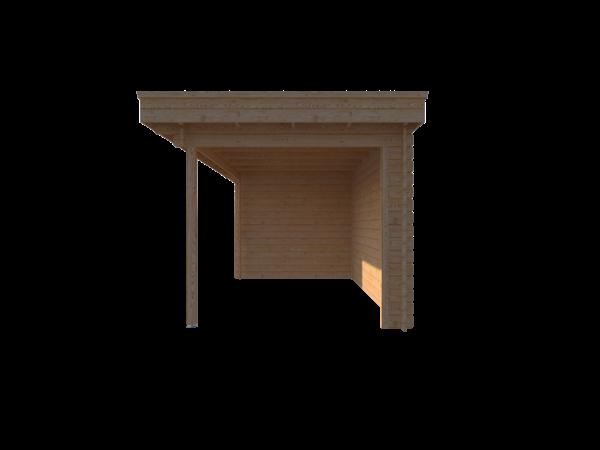 DWF Blokhut met overkapping plat dak 350 x 250 + 400cm