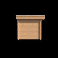 DWF Blokhut met overkapping plat dak 350 x 250 + 350cm