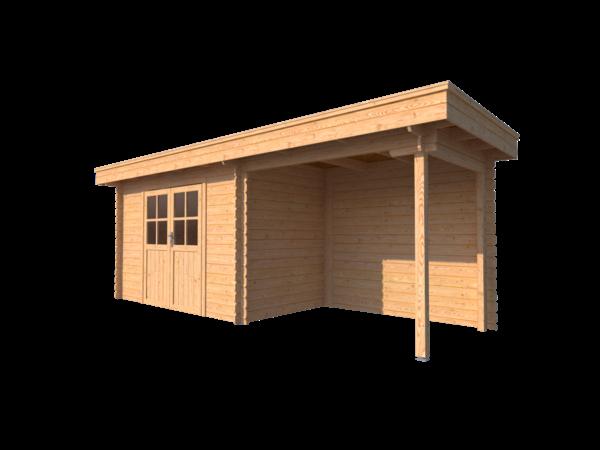 DWF Blokhut met overkapping plat dak 350 x 250 + 250cm