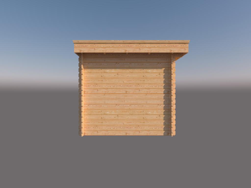 DWF Blokhut met overkapping plat dak 400 x 250 + 250cm