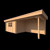 DWF Blokhut met overkapping plat dak 400 x 250 + 350cm