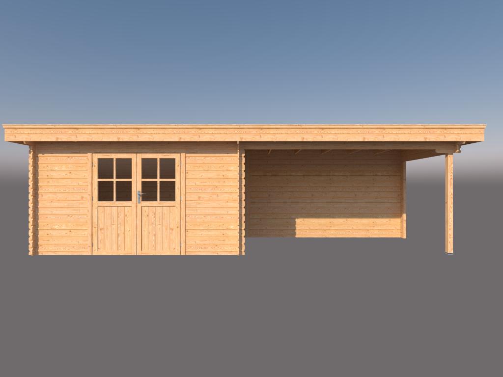 DWF Blokhut met overkapping plat dak 400 x 250 + 400cm