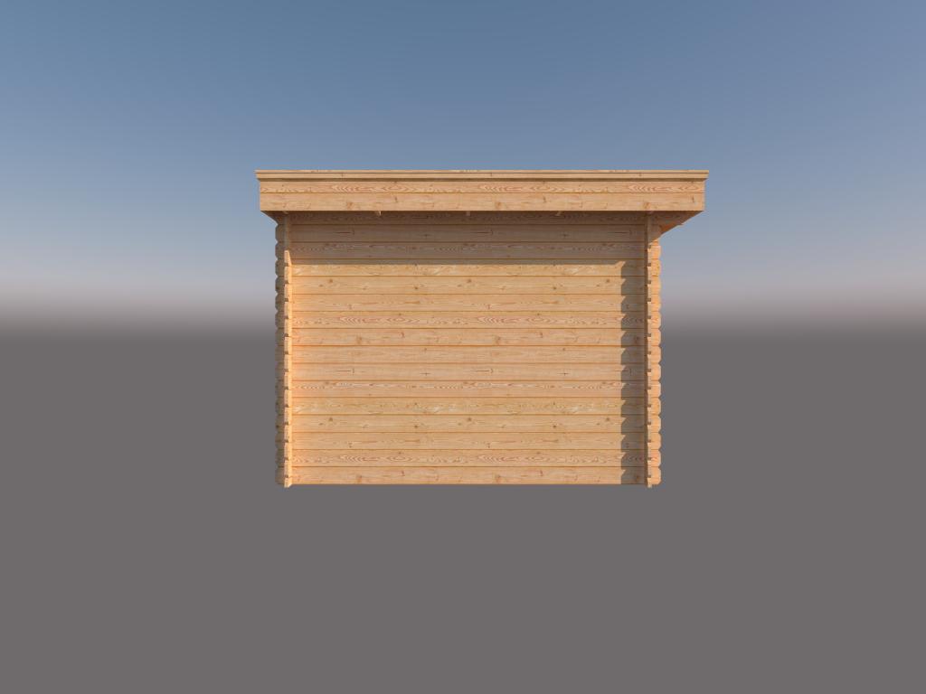 DWF Blokhut met overkapping plat dak 150 x 300 + 400cm