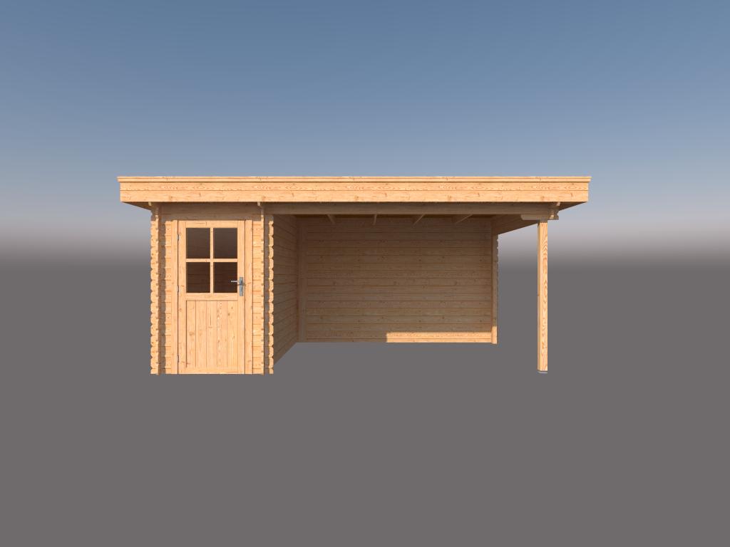 DWF Blokhut met overkapping plat dak 150 x 300 + 350cm