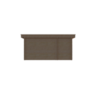 DWF Blokhut met overkapping plat dak 150 x 300 + 300cm