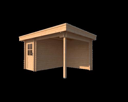 DWF Blokhut met overkapping plat dak 150 x 300 + 250cm