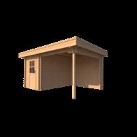 DWF Blokhut met overkapping plat dak 200 x 300 + 250cm