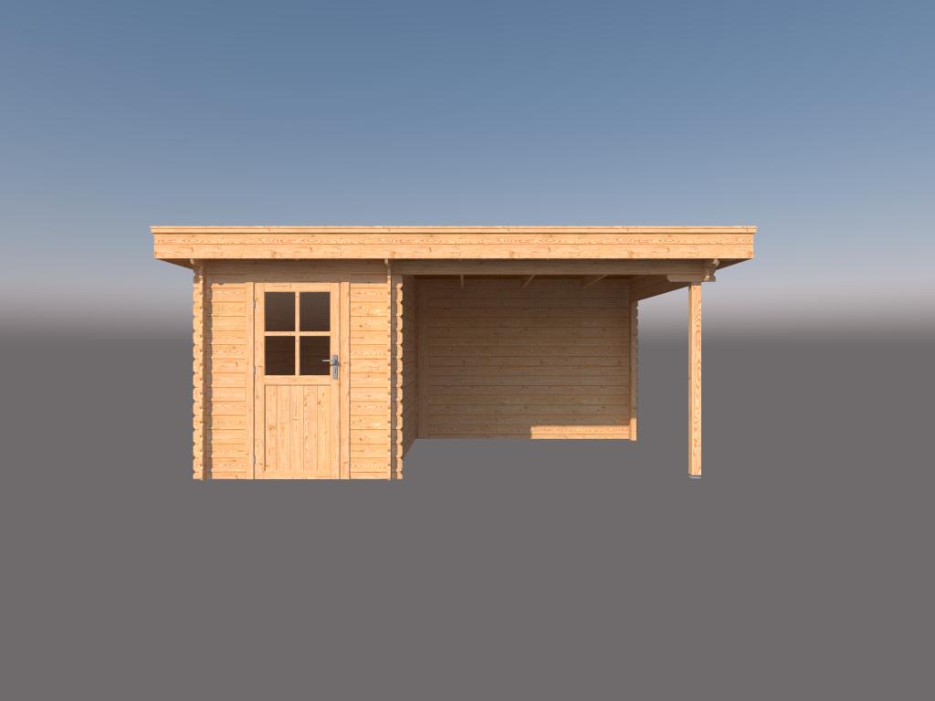 DWF Blokhut met overkapping plat dak 200 x 300 + 300cm