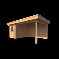 DWF Blokhut met overkapping plat dak 200 x 300 + 350cm