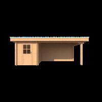 DWF Blokhut met overkapping plat dak 200 x 300 + 400cm
