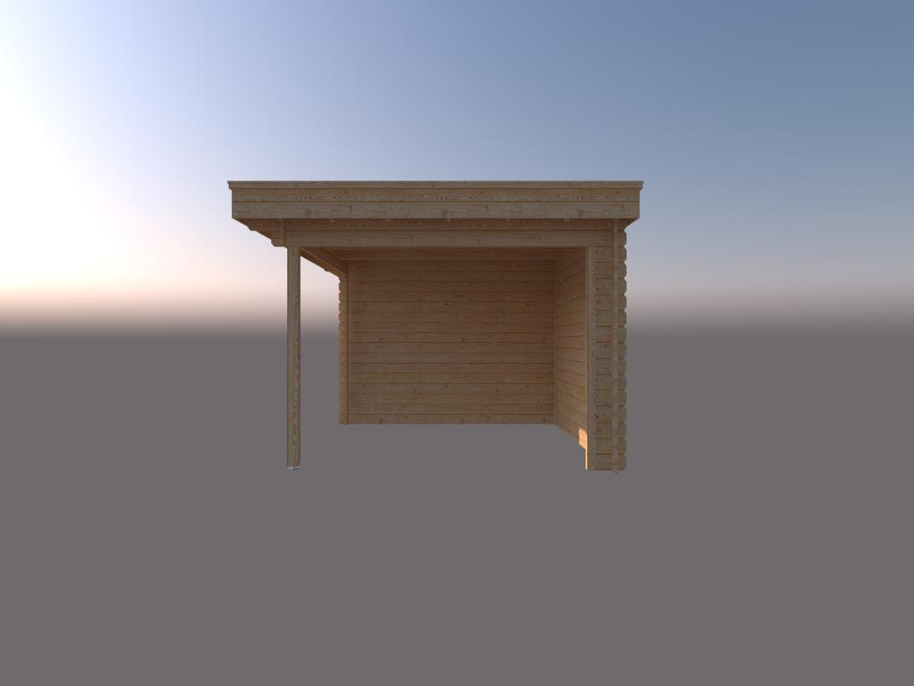 DWF Blokhut met overkapping plat dak 250 x 300 + 300cm