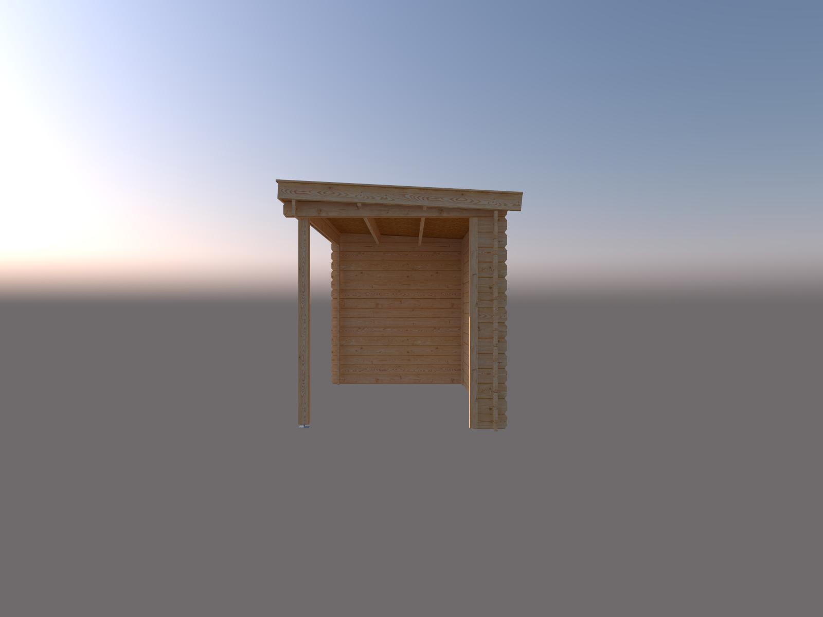DWF Blokhut met overkapping lessenaar dak 300 x 200 + 300cm