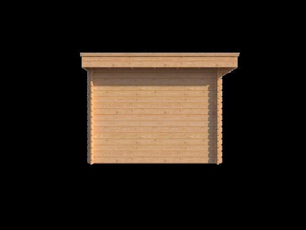 DWF Blokhut met overkapping plat dak 250 x 300 + 350cm