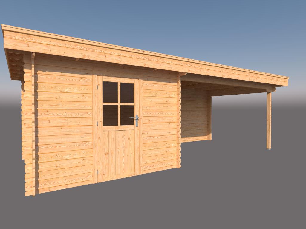 DWF Blokhut met overkapping plat dak 300 x 300 + 400cm