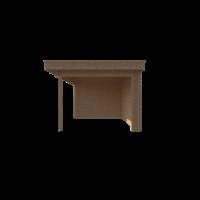 DWF Blokhut met overkapping plat dak 300 x 300 + 350cm