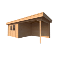DWF Blokhut met overkapping plat dak 350 x 300 + 300cm