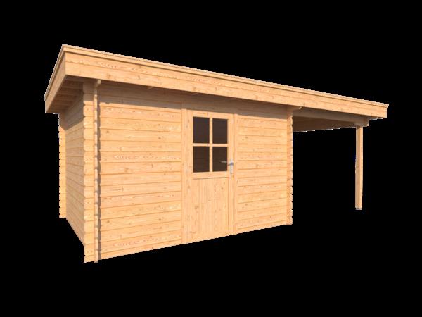 DWF Blokhut met overkapping plat dak 350 x 300 + 250cm