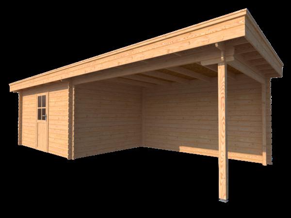 DWF Blokhut met overkapping plat dak 400 x 300 + 400cm