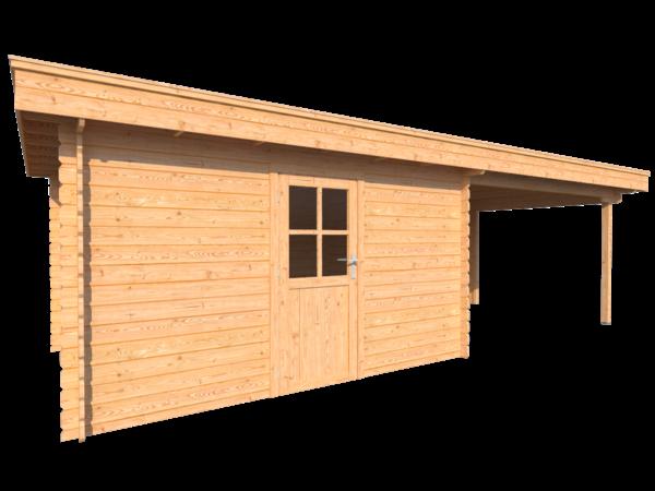DWF Blokhut met overkapping plat dak 400 x 300 + 350cm