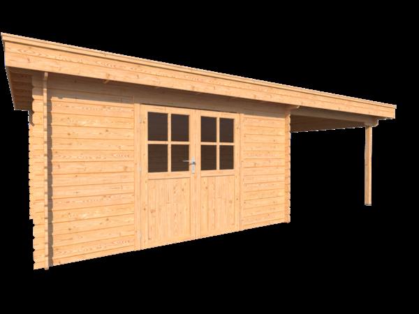 DWF Blokhut met overkapping plat dak 400 x 300 + 300cm