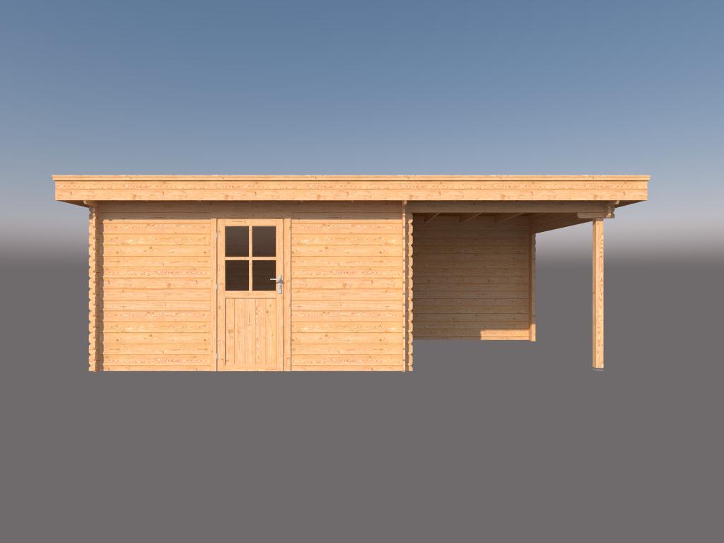 DWF Blokhut met overkapping plat dak 400 x 300 + 250cm