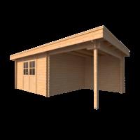 DWF Blokhut met overkapping plat dak 400 x 350 + 250cm