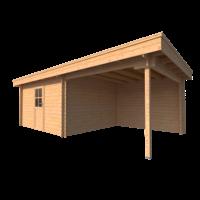 DWF Blokhut met overkapping plat dak 400 x 350 + 300cm