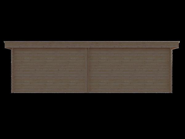 DWF Blokhut met overkapping plat dak 400 x 350 + 350cm