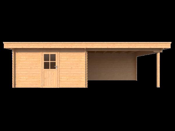 DWF Blokhut met overkapping plat dak 400 x 350 + 400cm