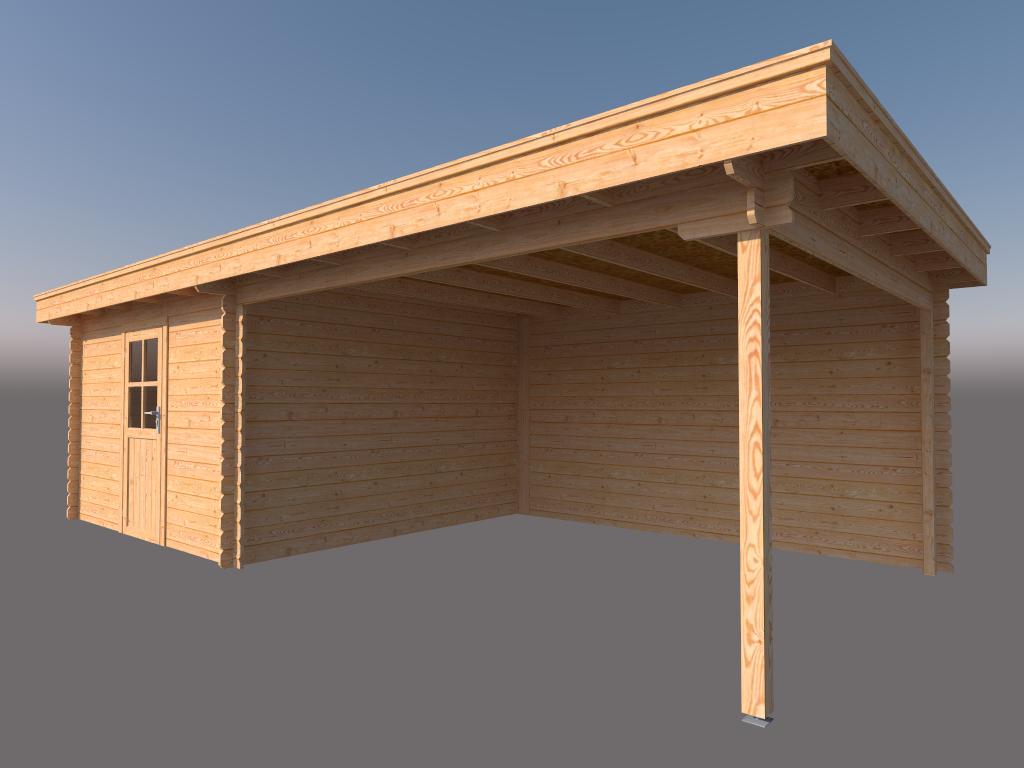 DWF Blokhut met overkapping plat dak 350 x 350 + 400cm