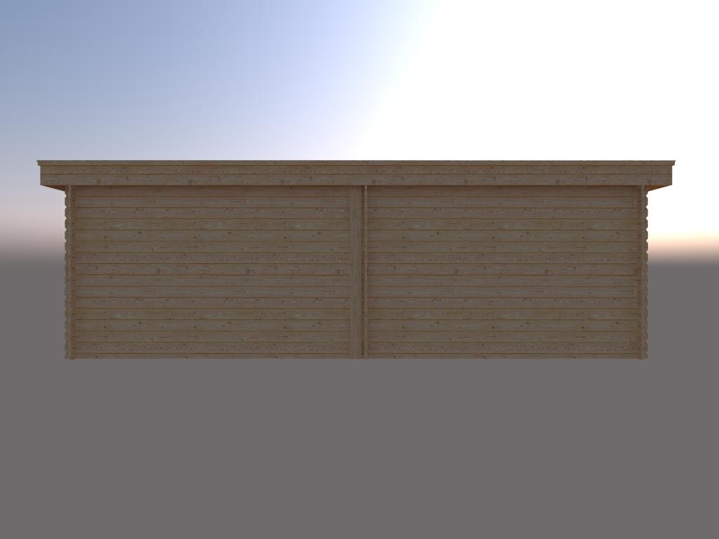 DWF Blokhut met overkapping plat dak 350 x 350 + 350cm