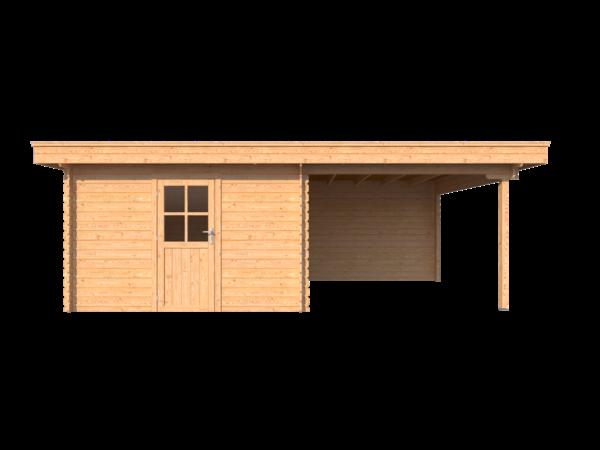 DWF Blokhut met overkapping plat dak 350 x 350 + 300cm