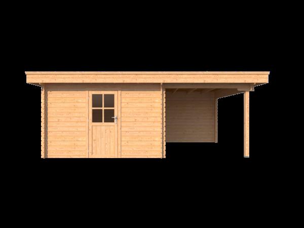 DWF Blokhut met overkapping plat dak 350 x 350 + 250cm