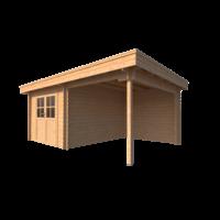 DWF Blokhut met overkapping plat dak 300 x 350 + 250cm