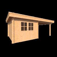 DWF Blokhut met overkapping plat dak 300 x 350 + 300cm