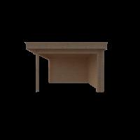 DWF Blokhut met overkapping plat dak 300 x 350 + 350cm