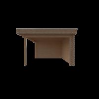 DWF Blokhut met overkapping plat dak 300 x 350 + 400cm