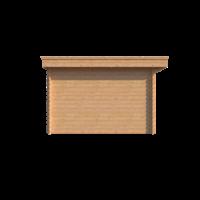 DWF Blokhut met overkapping plat dak 250 x 350 + 400cm