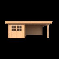 DWF Blokhut met overkapping plat dak 250 x 350 + 350cm